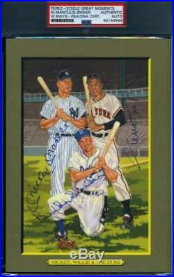 MANTLE MAYS SNIDER PSA DNA Autograph Perez Steele Great Moments Signed Slabbed