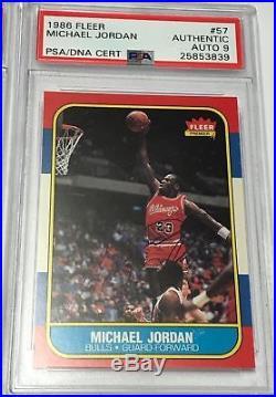 Michael Jordan 1986-87 Fleer Rc #57 Psa/dna Autographed Signed Rookie Card Rare