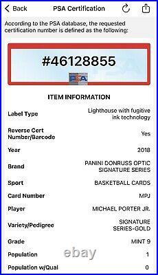 Michael Porter Jr 2018-19 Optic Signature Series GOLD Auto RC /10 PSA 9 POP 1