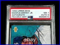 Mickey Mantle Ken Griffey Jr Dual Signed 1994 Upper Deck Uda Card Psa/dna Auto