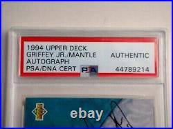 Mickey Mantle & Ken Griffey Jr Dual Signed 1994 Upper Deck Uda Card Psa/dna Auto