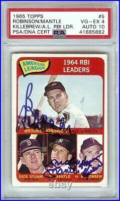 Mickey Mantle Killebrew Robinson 1965 Topps Signed Autograph PSA/DNA Auto 10 #5