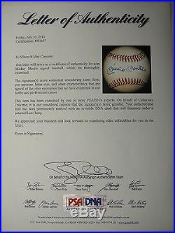 Mickey Mantle Psa/dna Signed Official American League Baseball Autograph #o01657