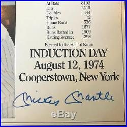 Mickey Mantle Signed Auto Autograph 8x10 Hall Of Fame Induction Photo PSA DNA