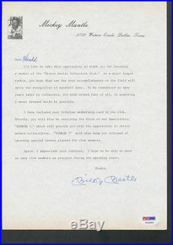 Mickey Mantle Signed Collectors Club Letter PSA/DNA Auto Autograph V05059