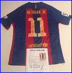 Neymar Autographed #11 Barcelona Striped On Field Soccer Jersey PSA/DNA LOA