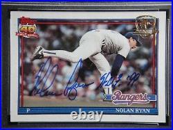 Nolan Ryan Hof 99 Psa/dna 9 Mint Signed 1991 Topps Desert Shield #1 Autograph