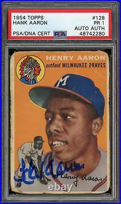 PSA 1 1954 Topps #128 Hank Aaron Auto PSA/DNA Auth Rookie Card Henry Not 1.5 2.5