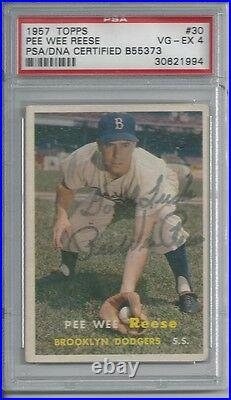Pee Wee Reese Psa Graded 4 Topps 1957 Signed Card #30 Psa/dna Autograph