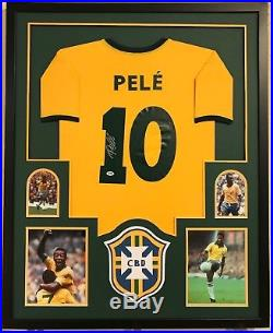 6ee5ae549a3 Pele Autographed Custom Framed Brazil Brasil Soccer Jersey PSA/DNA COA