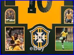 Pele Autographed Custom Framed Brazil Brasil Soccer Jersey PSA/DNA COA