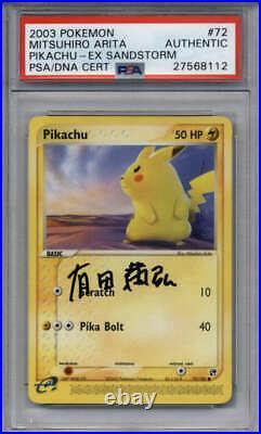Pikachu Pokemon PSA/DNA AUTOGRAPH #72/100 Signature Mitsuhiro Arita EX Sandstorm