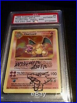Pokémon Shadowless Charizard 1999 Mitsuhiro AritaAutograph+SketchPSA DNA