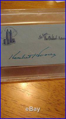President Herbert Hoover Autograph PSA/DNA COA cut signature