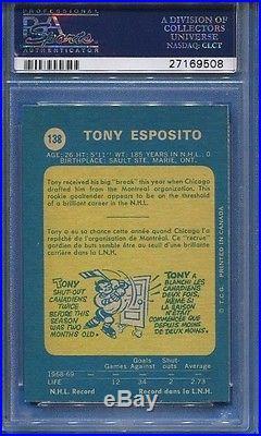 Psa/dna 1969-70 Opc #138 Tony Esposito Hof 88 Autographed Blackhawks Rookie
