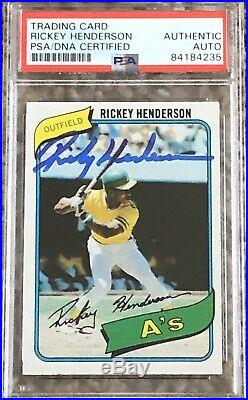 Rickey Henderson Autographed Signed 1980 Topps Rookie Card RC PSA/DNA Cert Qty