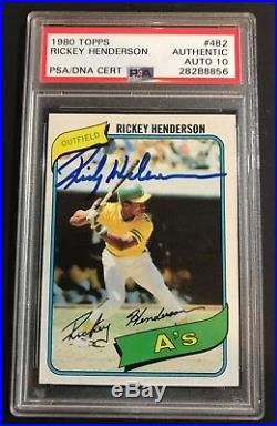 Rickey Henderson signed rookie 1980 Topps #482 Auto Autographed A's PSA/DNA 10