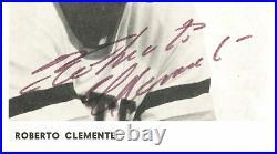 Roberto Clemente Autographed 4x6 Photo Pirates Auto Grade 7 PSA/DNA AC01446