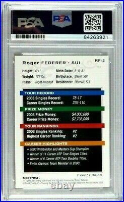 Roger Federer Rc 2003 Netpro Elite Signed Autograph Rookie Card Psa/dna Auto