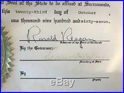 Ronald Reagan Autographed Certificate 1967 PSA/DNA