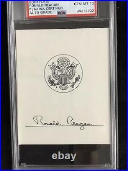 Ronald Reagan Signed Bookplate Autograph PSA/DNA President Auto Gem Mint 10