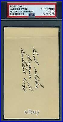 Satchel Paige PSA DNA Coa Autograph Hand Signed 3x5 Index Card