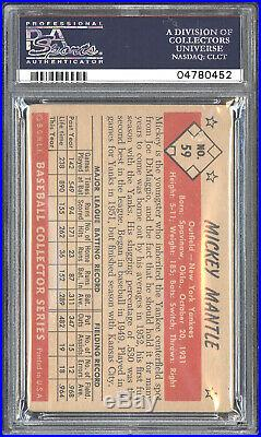 Signed 1953 Bowman Color #59 Mickey Mantle (HOF) PSA/DNA MINT 9 Autograph