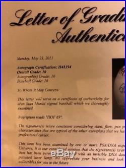 Stan Musial HOF 69 Signed Autographed OML Baseball PSA/DNA Graded GEM MINT 10