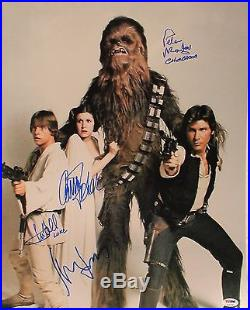 Star Wars Cast FORD, HAMILL, FISHER, MAYHEW Signed 16x20 Photo PSA/DNA #S14758