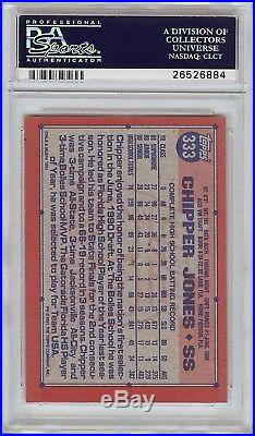 Super Rare 1991 Topps #333 Chipper Jones Autograph Rookie RC Card PSA / DNA 9