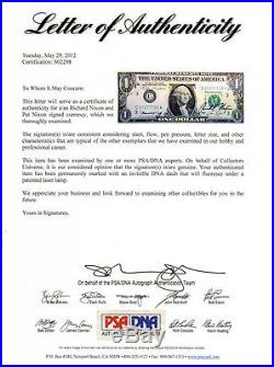 Super Rare! President Richard Nixon & Pat Nixon Signed Dollar Bill! Psa/dna Loa
