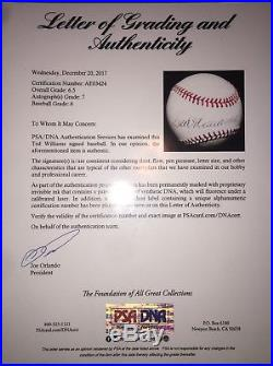 TED WILLIAMS AUTOGRAPHED BASEBALL PSA/DNA Graded 6.5 Authentic