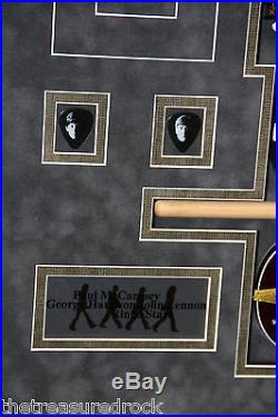 THE BEATLES signed autographed display photo guitar pick drumstick PSA DNA RARE
