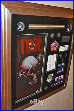 TOOL signed autographed poster drumstick framed PSA DNA backstage pass VIP OKC