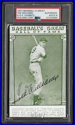 Ted Williams 1977 Baseball's Great HOF Exhibits Auto Signed PSA/DNA Certified