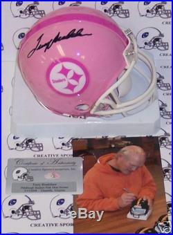 Terry Bradshaw Autographed Hand Signed Steelers Pink Mini Helmet Psa/dna