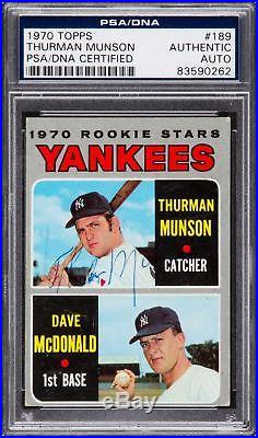 The Only Known 1970 Topps Thurman Munson Signed Autographed Rookie Card PSA DNA