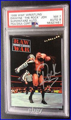 The Rock Dwayne Johnson rookie Card Psa 7/Autograph 8 Pop 4