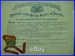 Theodore Roosevelt Psa/dna Certified Authentic Signed Appointment Certificate