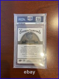 Tiger Woods 2020 Upper Deck Goodwin Champions Horizontal Auto Autograph PSA 9