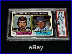 Tom Seaver / Jim Palmer 1974 Topps #206 Autographed HOF NY Mets Auto 70s PSA/DNA