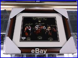 Triple Crown Winners Autographed 8x10 Framed Photo Ron Turcotte Cauthen Psa/dna