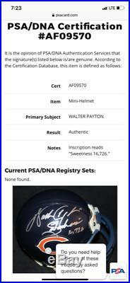 WALTER PAYTON AUTOGRAPHED CHICAGO BEARS MINI HELMET With INSCRIPTION PSA/DNA COA