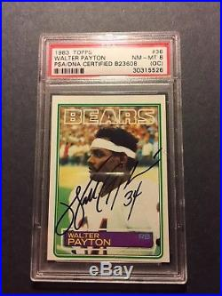 WALTER PAYTON Bold autographed 1983 Topps #36 PSA/DNA