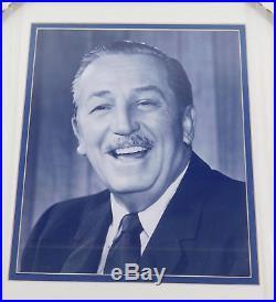 Walt Disney Signed Fabric + 8 x 10 B&W Photo Framed Display PSA/DNA Auto Slabbed
