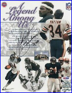 Walter Payton Autographed 8x10 Photo Bears Sweetness 16,726 Psa/dna Auto Pic