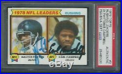 Walter Payton & Earl Campbell Dual Signed 1979 Topps Card #3 Psa/dna Autographed