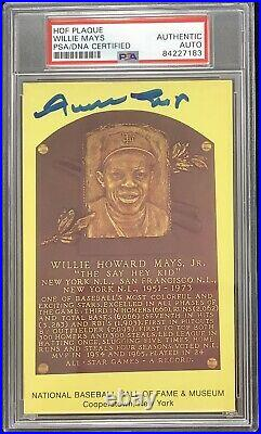 Willie Mays Signed Gold Plaque Postcard HOF Autograph PSA/DNA Yellow SF Giants