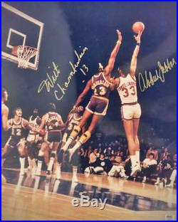 Wilt Chamberlain Kareem Abdul Jabbar Signed Autographed 16x20 Photo PSA/DNA